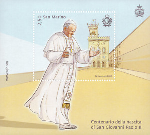 2020 San Marino POPE JOHN PAUL II S/S+FDC