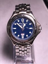 Eddie Bauer Watch Mens Stainless Steel Silver Day Date New Battery. Runs Great