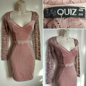 QUIZ Pink Blush Velvet Lace Bodycon Dress 6 BNWT Cocktail Party Evening Clubbing
