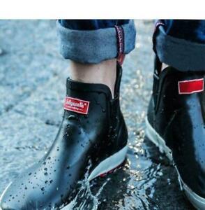 Mens Low Top Rain Boots Non Slip Fishing Festival Rain Wellies Shoes Ankle Boots