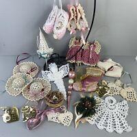 Lot of 22 Vintage 80s Shabby Romantic Crochet Christmas Ornaments Holiday