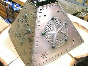 Tin Punch Lamp Shade, Western Star with Beads Med