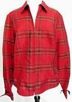 Coldwater Creek Red Jacket Top Size Medium Plaid Zip Up Lightweight