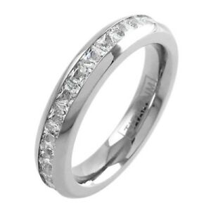 Titanium Princess Cut 2.32-4.80 Carat CZ Band Ring 3.75mm or 4.5mm Size 5-12