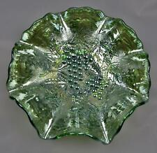 "Imperial GRAPE Helios Green Carnival Glass 9"" Ruffled Bowl 7762"