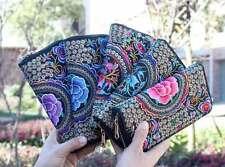 Embroidered Women Long wallet clutch change coin purse Phone bag handbag