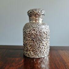 ANTIQUE ORNATE SILVER SCENT BOTTLE Victorian Engraved Silver Case Perfume Bottle