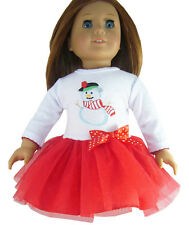 """Holiday Christmas Snowman Tutu Dress for 18"""" American Girl Doll Clothes"""