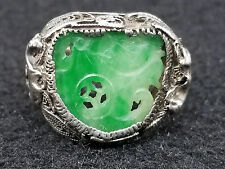 ART DECO Sterling Filigree Carved Green Jadeite JADE Ring Camels ~Size 5.5 ~3gr