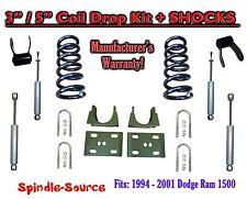"1994 - 2001 Dodge Ram 1500 V8 Ext Cab 2WD 3"" / 5"" Drop Lowering Kit + SHOCKS"