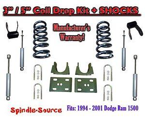 "1994 - 2001 Dodge Ram 1500 V8 Reg Cab 2WD 3"" / 5"" Drop Lowering Kit + SHOCKS"