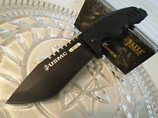 Elite Tactical USMC Dog Face Tanto Flipper Pocket Knife Black Titanium G10 440C