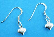 925 Argento Sterling PUFF CUORE 6mm Gancio Dangle Earrings attraverso