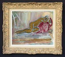 RAYA SAFIR (1909-2004) PEINTURE FAUVISTE SUPERBE NU DANS L'ATELIER 1950 (240)