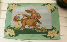 "13x18"" Festive Hare Rabbit Bunny Tapestry Placemat Dining Table Kitchen Mat"