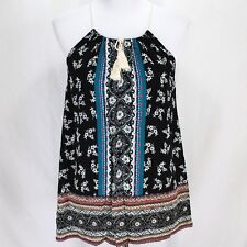 Staccato Tank Top Sz M Black White Floral Boho New