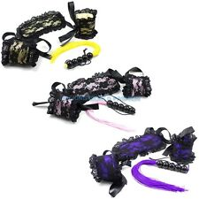 Slave Restraints Kit Roleplay Costume Lace Blindfold Eyemask Handcuff Whip Kit