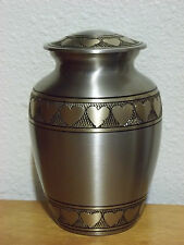 """Beautiful Pewter w/Bronze Heart Banding Brass Urn~6""""~for up to 40 Lbs"""