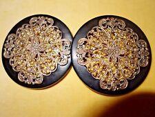 Victorian large circular metal filigree and Vulcanite/celluloid dress buckle