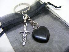 Natural Black Obsidian Crystal Heart & Athame Dagger Charm Keyring