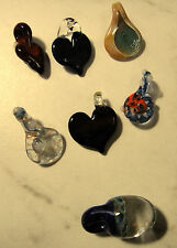 Lot of Seven (7) Handmade Mini Lampwork Murano Art Glass Pendants Multicolors