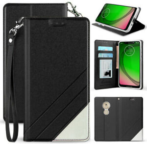 Black Wallet Case Cover Stand + Wrist Strap for Motorola Moto G7 Play/Optimo