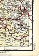 Thann Mulhouse Pfirt 1897 winzige orig. Eisenbahn-Karte Ensisheim Altkirch Delle