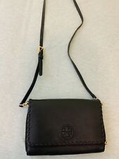 Tory Burch Black Leather Cross body Bag Wallet Preowned Slightly Used As Picture