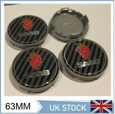 4x SAAB CARBON CENTRE HUB CAPS ALLOY WHEEL 63mm 9-3 93 95 900 9-5