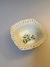 CHRISTMAS CANDY DISH, Holly Candy dish, Pierced treat bowl, small Christmas bowl