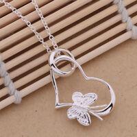 925 New Silver beautiful cute women HEART flower Necklace charm jewelry P090