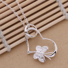New Silver Plated beautiful cute women HEART flower Necklace charm jewelry P090