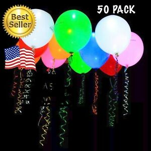 50 Pack Neon LED Balloons - Light Up Balloon Wedding, Birthday, Party Decoration
