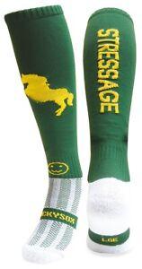 WackySox Equestrian Riding Socks - Stressage Dark Green and Gold
