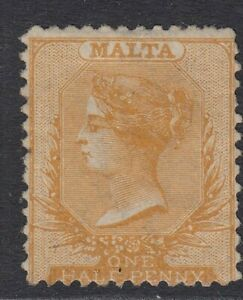 Malta 1863-81 perf 12½ ½d yellow-orange SG15 Mounted mint cat £400