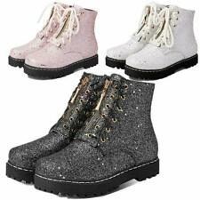 Punk Gothic Creepers Women Oxfords Shiny Bling Glitter Ankle Boots Combat Riding
