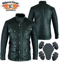 Australian Bikers Gear Vintage Waxed Trailmaster Motorcycle Leather CE Jacket