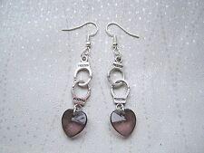 HAND CUFFS SMOKE GREY HEART CHARM STACK Drop Earrings Elegant Gray 50 Shades of