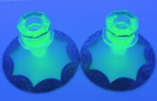 VINTAGE VASELINE URANIUM GLASS CANDLESTICKS HOLDER MORIAGE GOLD RIM PAIR