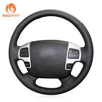 Black Leather Steering Wheel Cover Wrap for Toyota Land Cruiser Tundra Sequoia