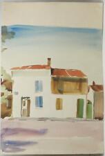 Vintage Watercolor Painting Mediterranean House circa 1959-1960