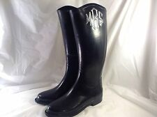 Women's Zou Baby Monogrammed Embroidered ( MRS.) Rubber Black Rain Boots Size 7