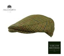 Failsworth Scottish Tweed Cap Failsworth  Saxony Wool Tweed Brown Houndstooth