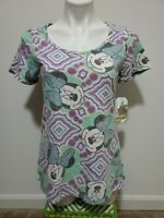 NWT Lularoe Disney Minnie Mouse Green Short Sleeve High Low Tunic Top Size S