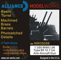 Alliance Model Works 1:350 WWII IJN Type 89 12.7cm AA Gun Detail Set #NW35056