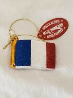 France Red White Blue Flag Blown Glass Christmas Ornament Made In Poland