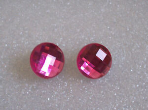 Bright Pink Acrylic Rhinestone Clip-on Earrings
