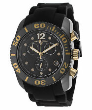 Swiss Legend 10127-01-GA Men's Commander Diamonds Chrono Watch Black Silicone