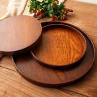 Round Natural Wood Serving Tray Wooden Plate Tea Food Server Coffee Dish Platter