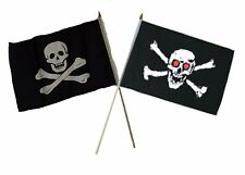 "12x18 12""x18"" Wholesale Combo Pirate No Patch & Red Eye Eyes Skull Stick Flag"